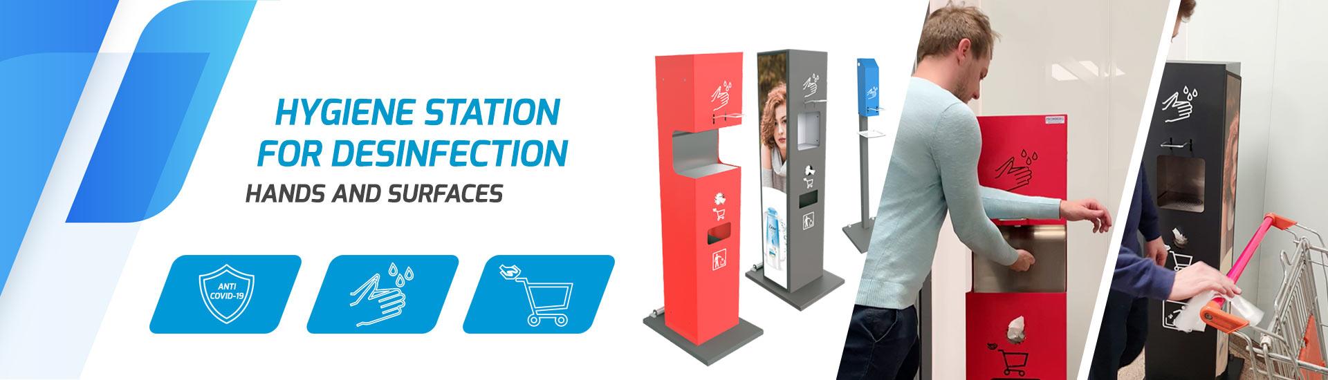 Hygiene station for desinfection
